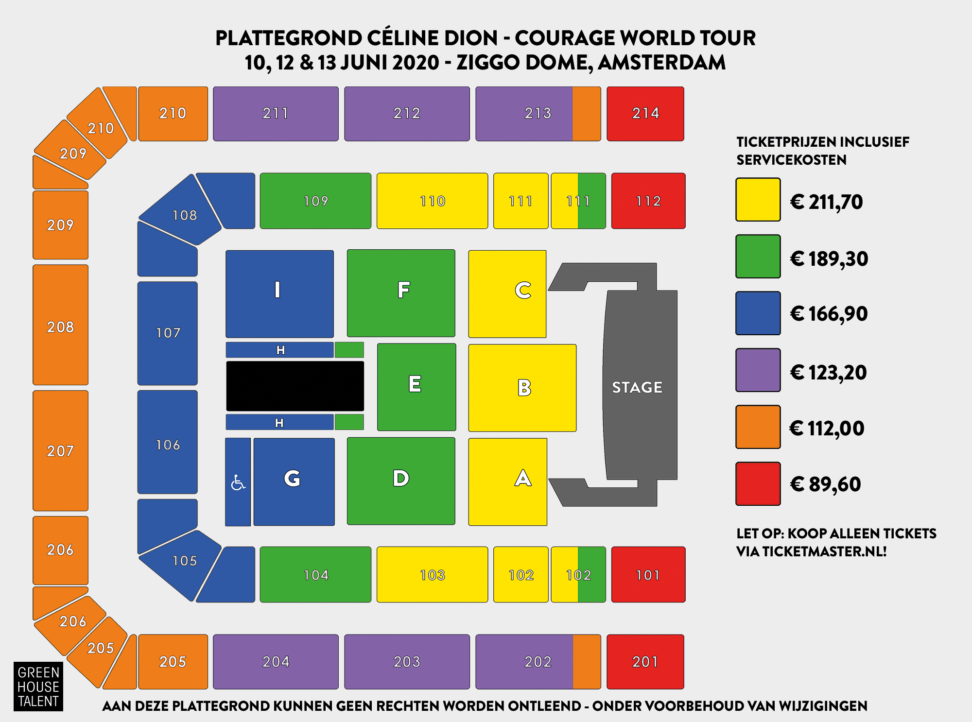 Céline Dion plattegrond Ziggo Dome